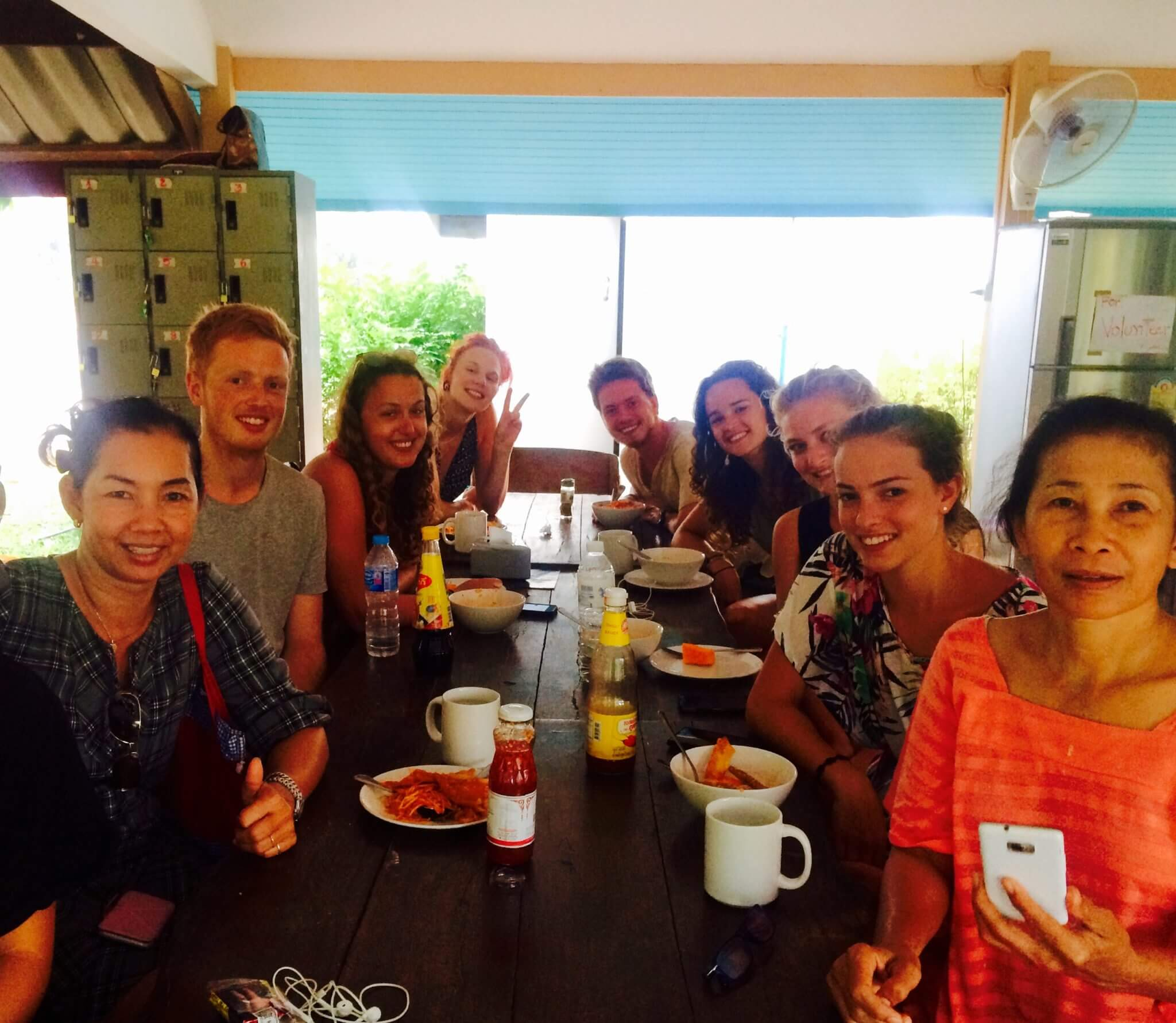 Volunteers enjoy meals together