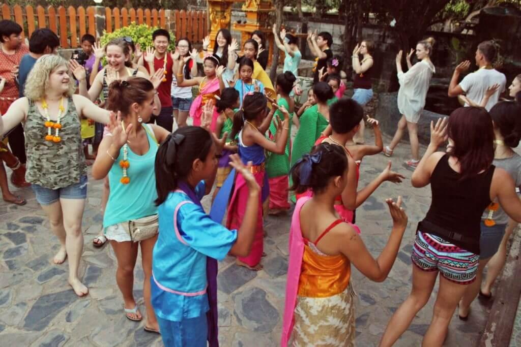 volunteer enjoying welcome ceremony in thailand