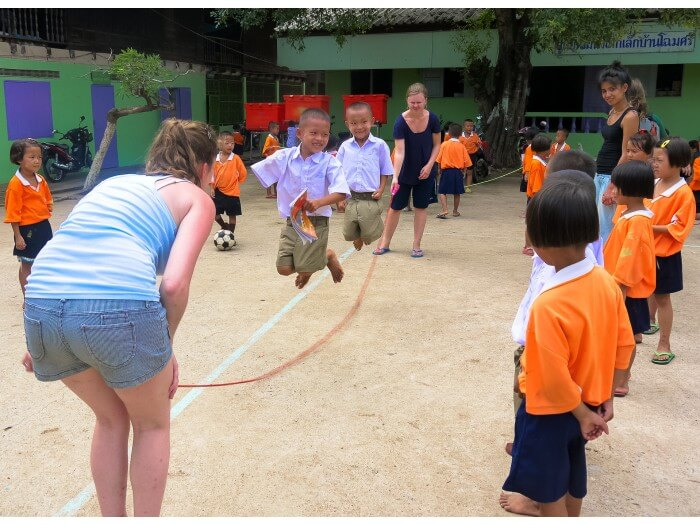 primary school kids skipping