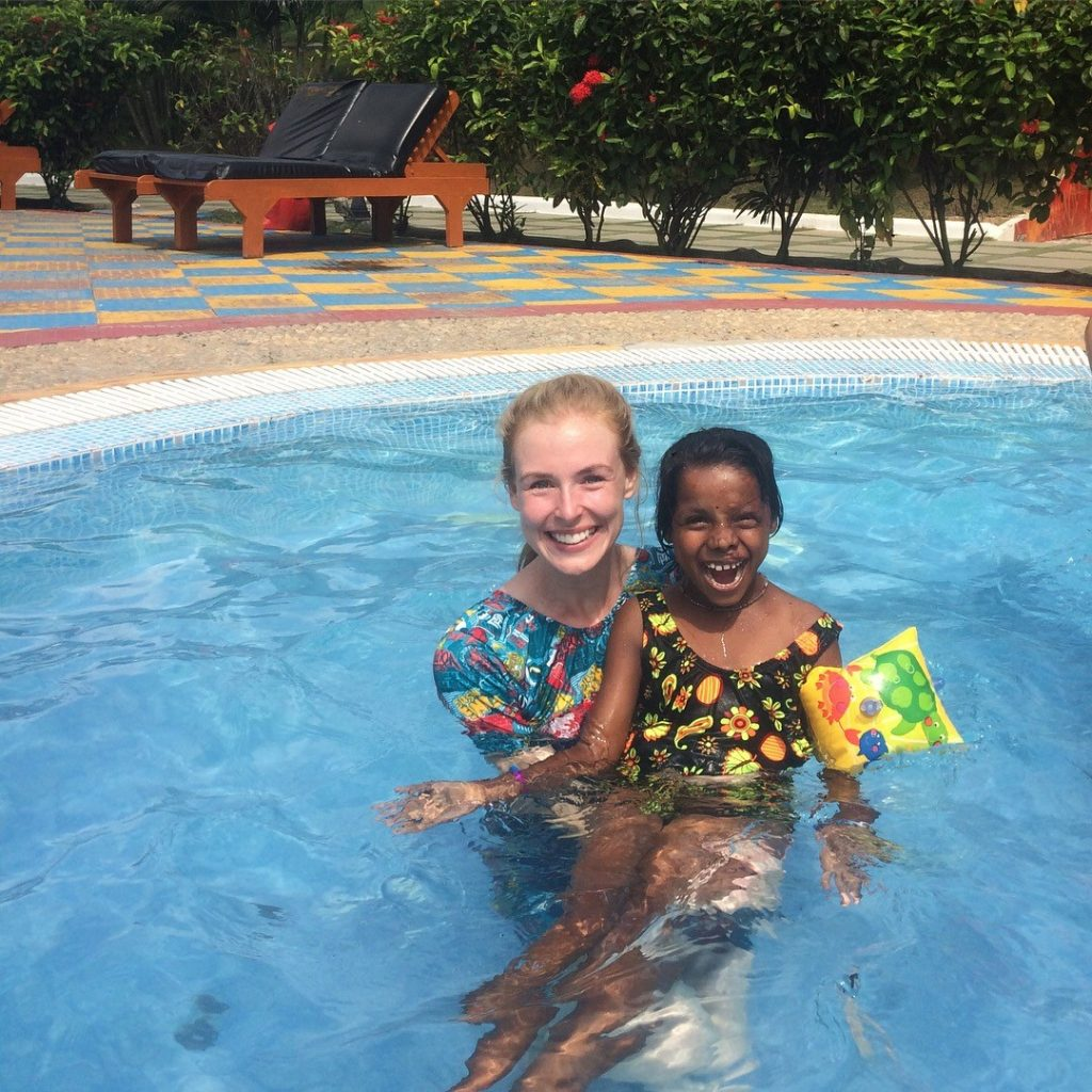 sarah in pool 1024x1024 - Nutrition & Healthcare Volunteering Abroad - Bodhgaya India