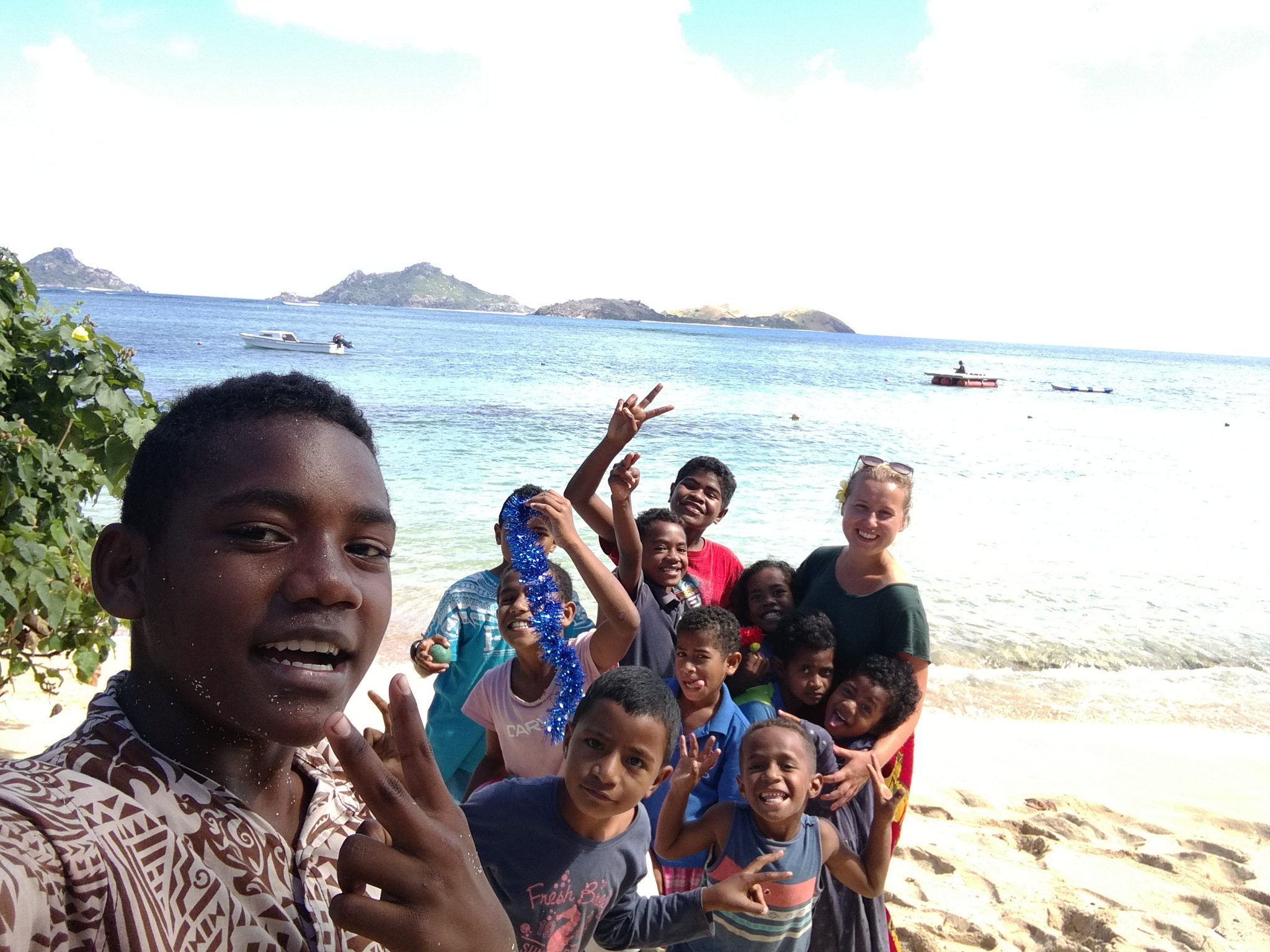 beach and children shot island teaching program fiji