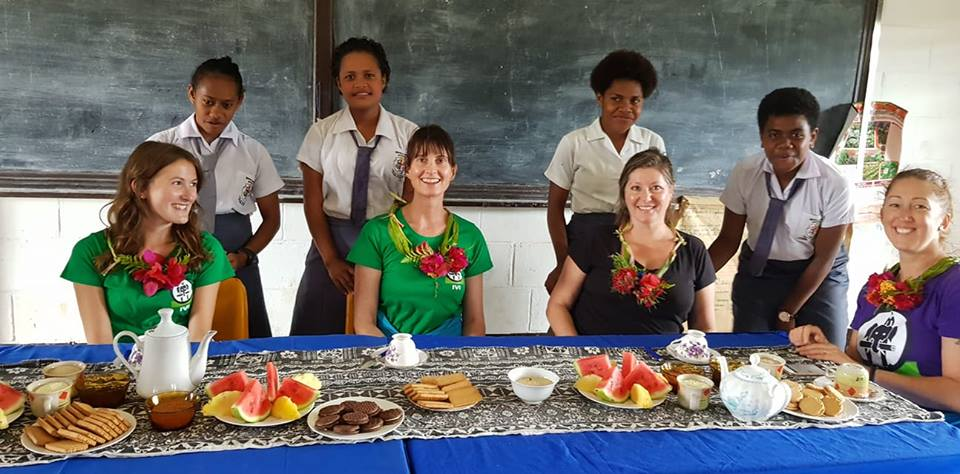 morning tea on the public health program in lamola village fiji