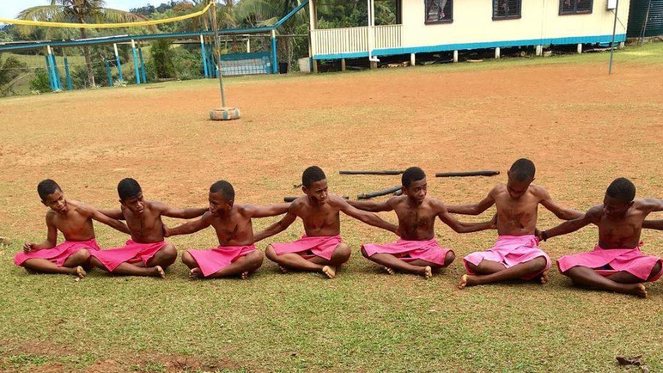 Fijian ceremony in public school with traditional sulu