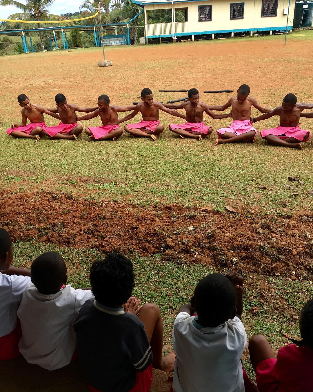 Fijian ceremony in public school with traditional sulu