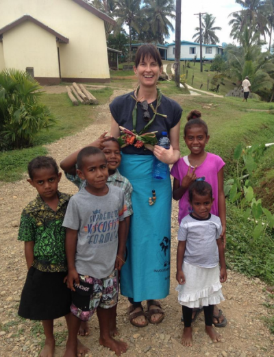 Gabriella Volunteer in fiji village on nutrition program ivi