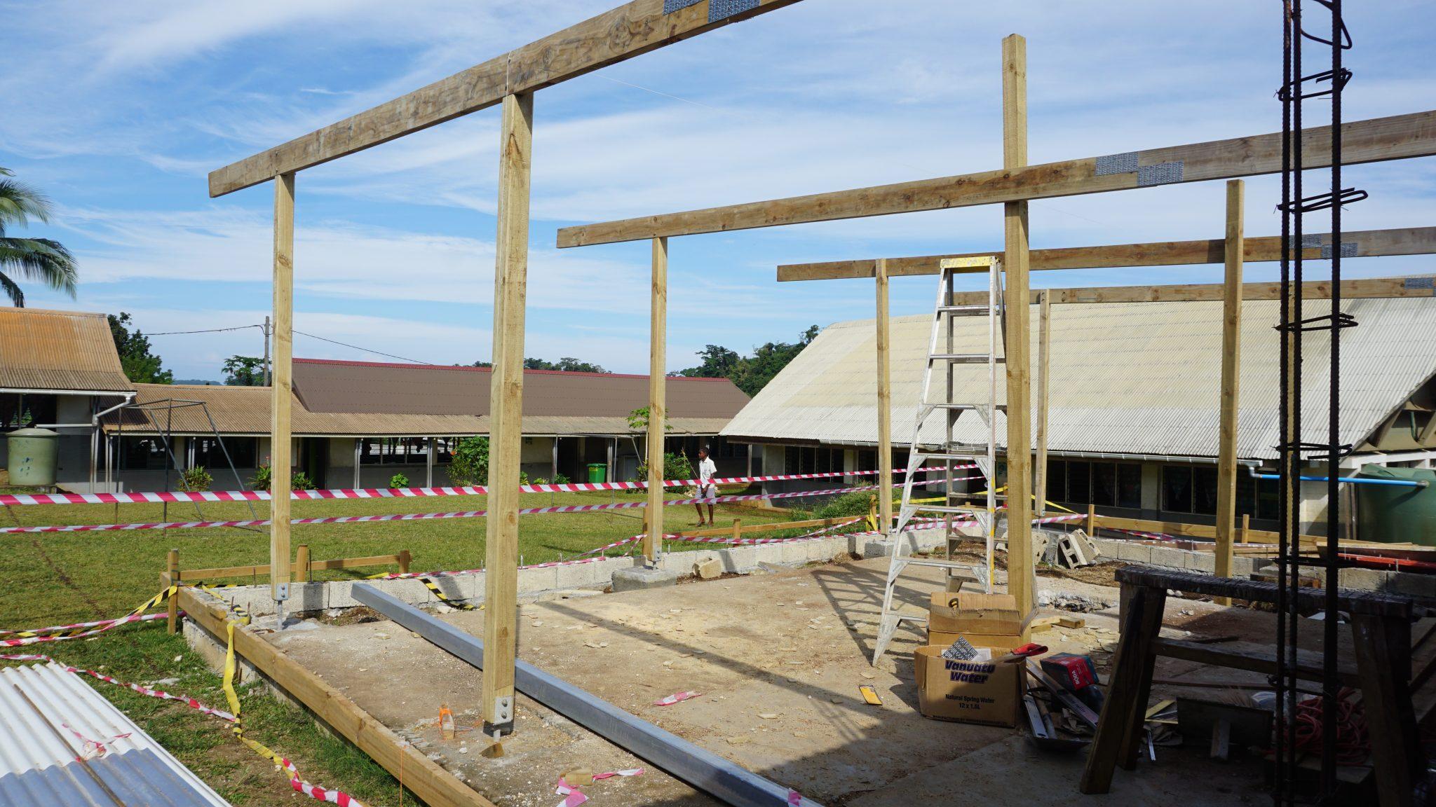 construction site where volunteers work