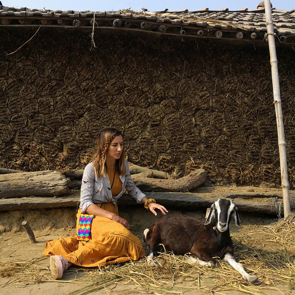 el with a goat - Survivor couple Elena Rowland & Lee Carseldine in Bodhgaya, India