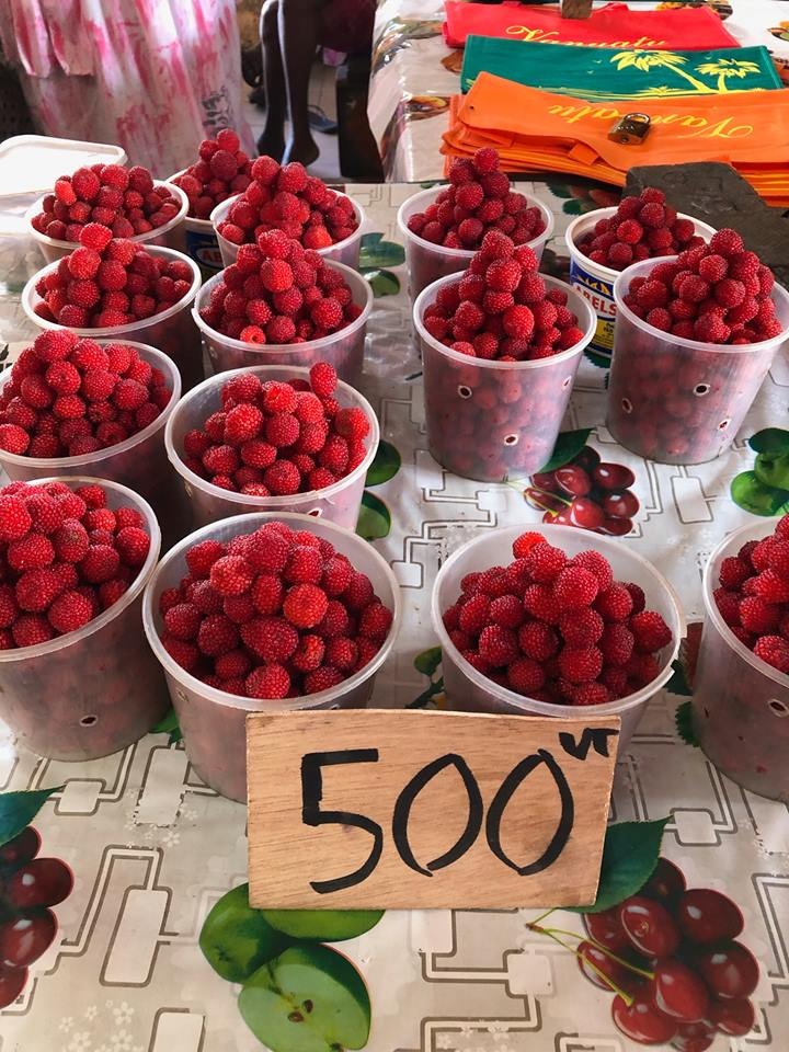raspberries at the market in port vila