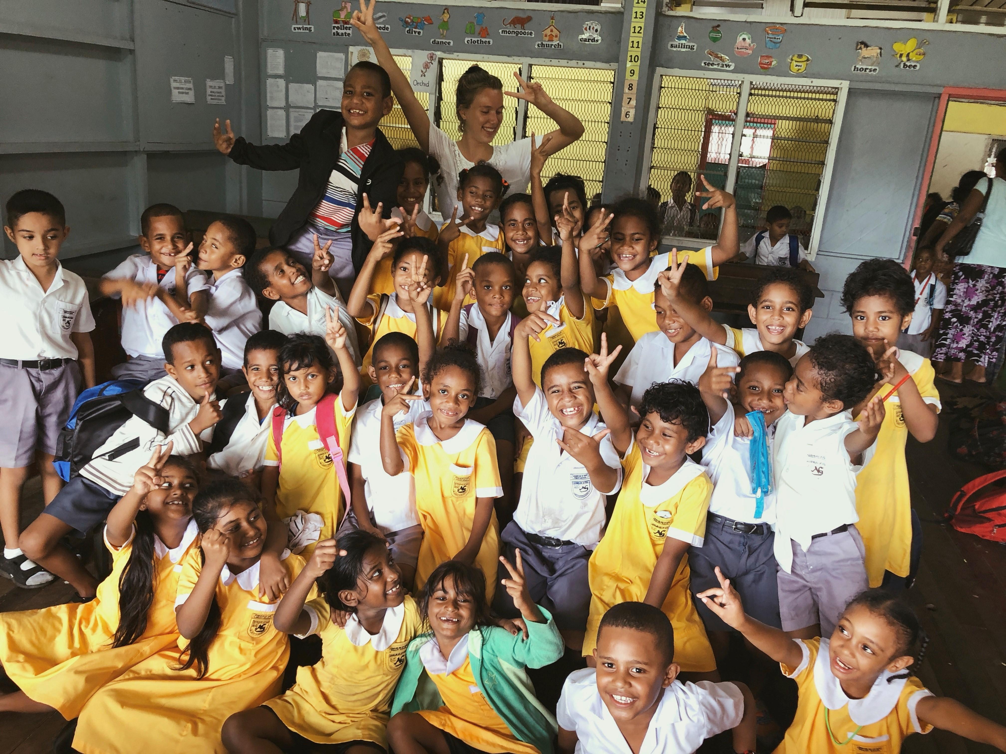 Karoline in the school in Fiji as volunteer through IVI - Remote Island Teaching Review by Alex