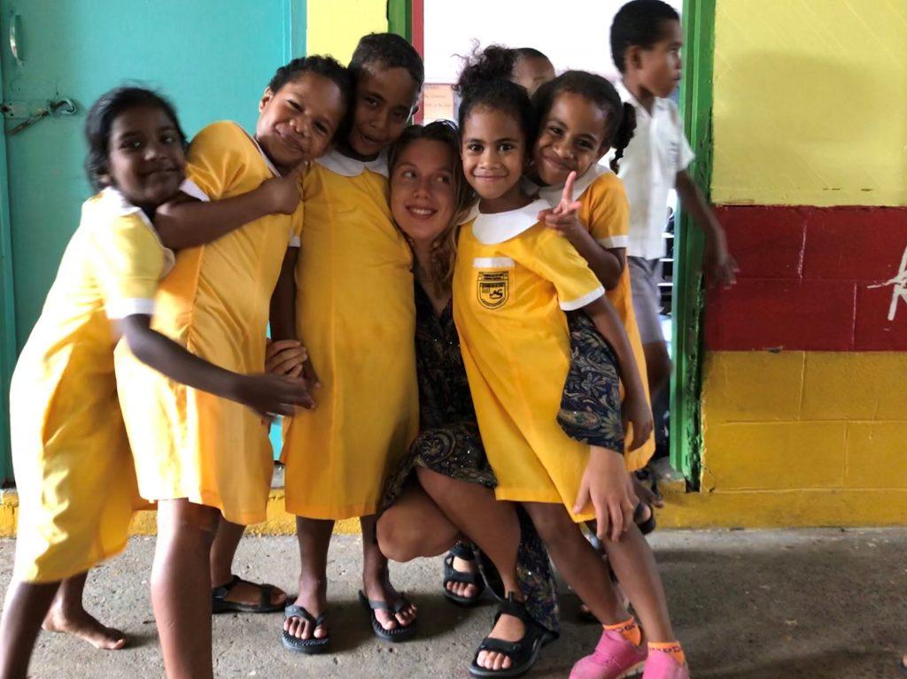 school kids with Karoline 1024x767 - Feedback Primary School Teaching Suva