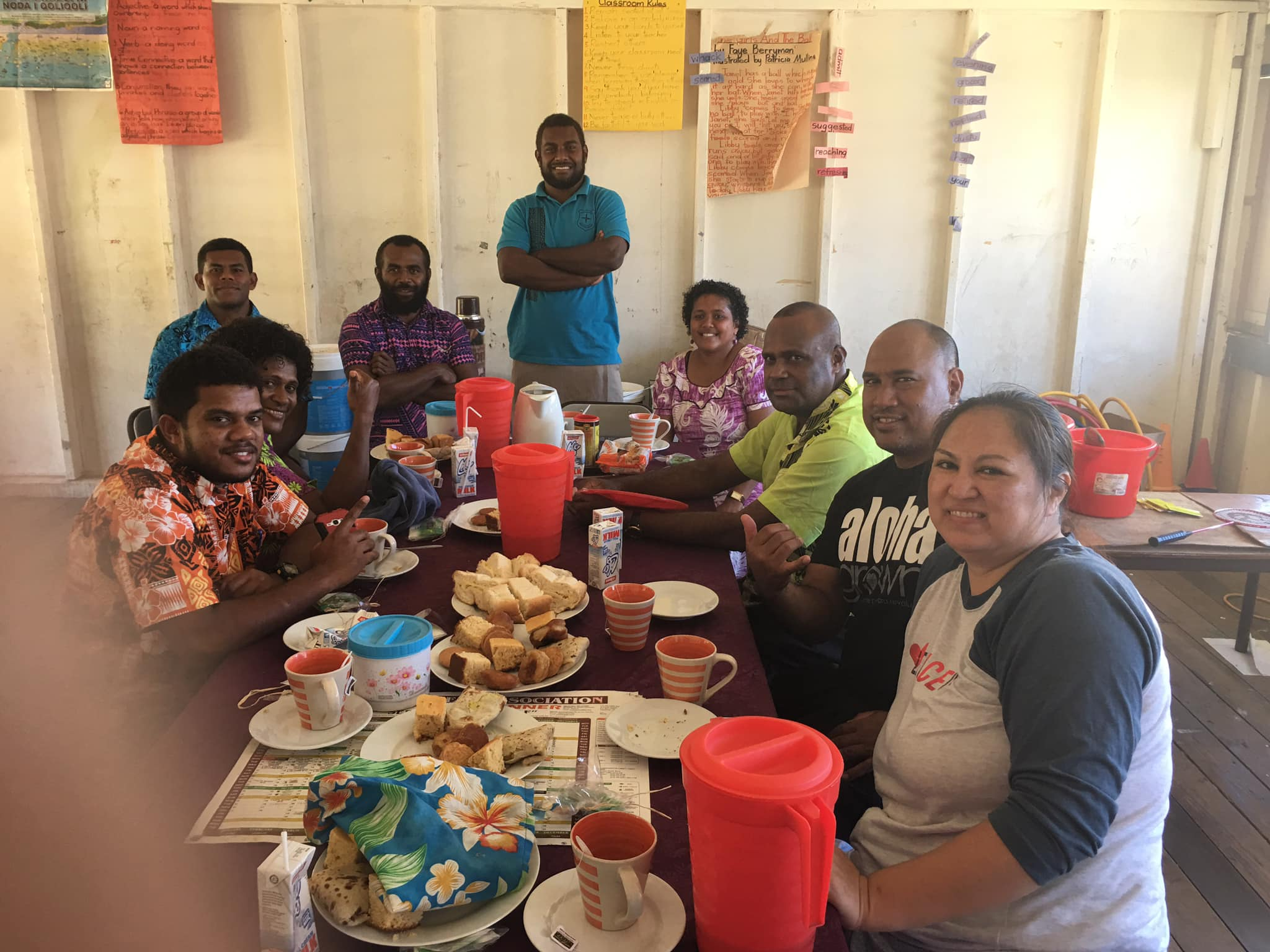 Local Fijians enjoying a meal at IVI project