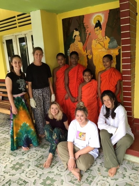 IVI volunteer Heidi with monks in Sri Lanka b - Childcare and Construction Volunteering Sri Lanka