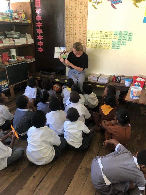 reading a book to kindergarten children in fiji 600x800 - Fiji Kindergarten Lautoka Volunteering Feedback