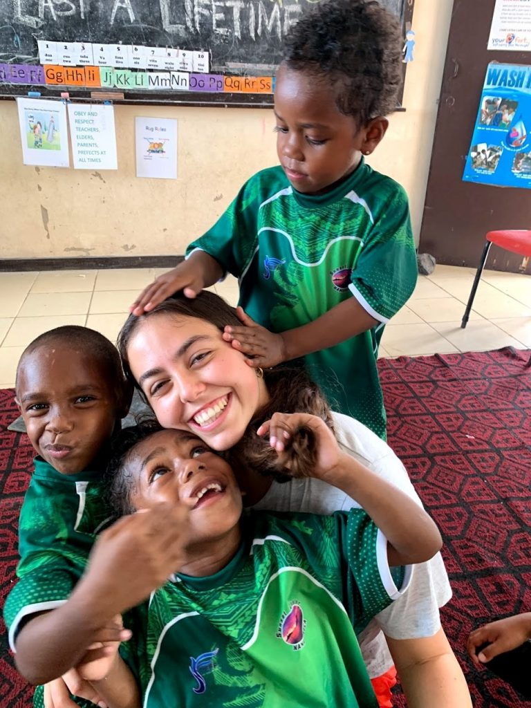 steph volunteering with children in fiji 768x1024 - Teaching English in Fiji
