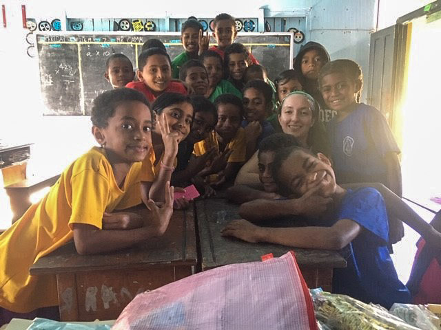 children at Fiji teaching project