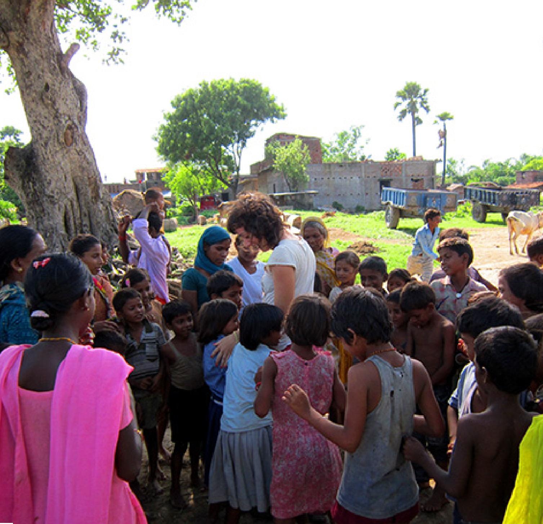 greeted by kids in Bodhgaya