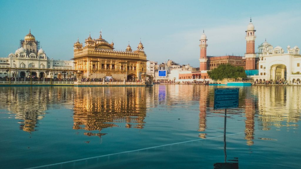 beautiful lake with buildings in India