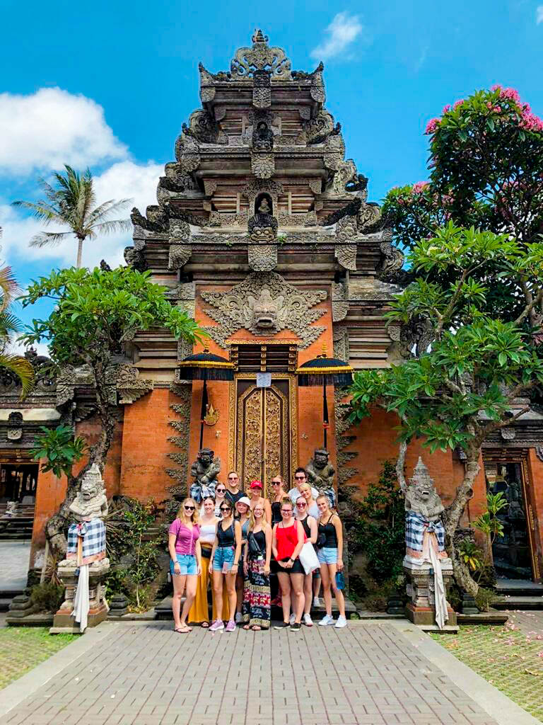 group outside temple in Bali