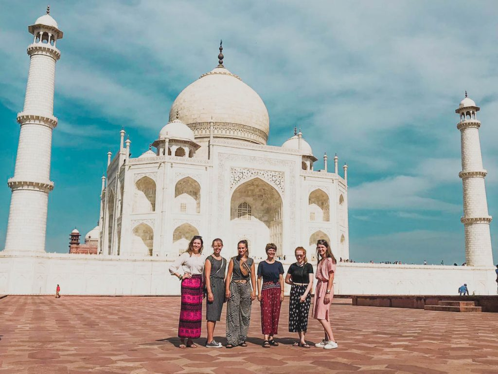 group outside the Taj Mahal