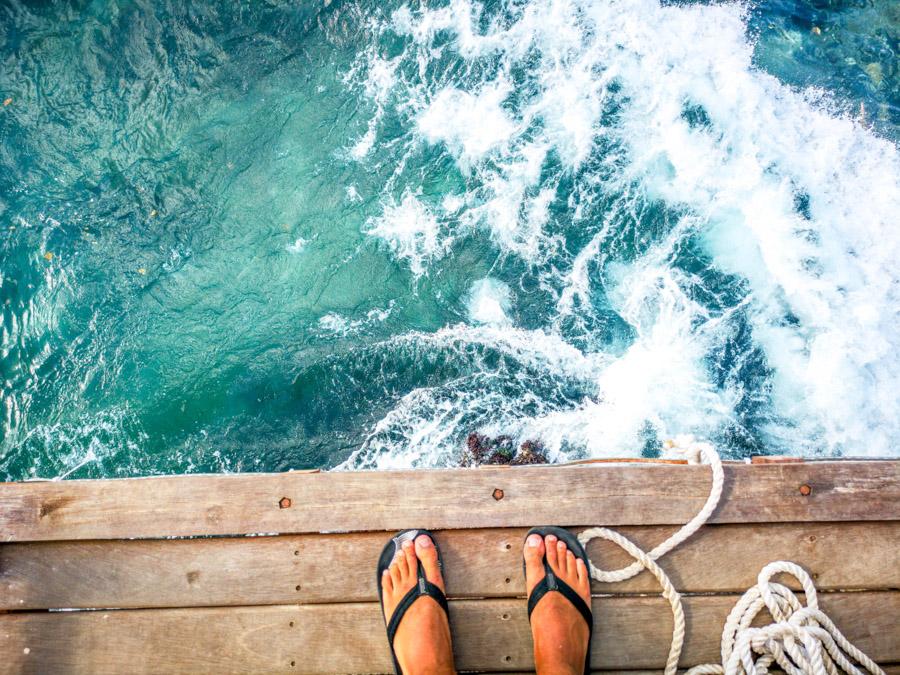 overlooking blue ocean-