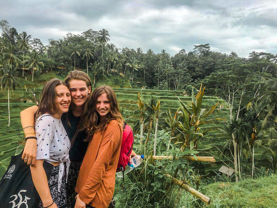 posing by rice paddies in Bali