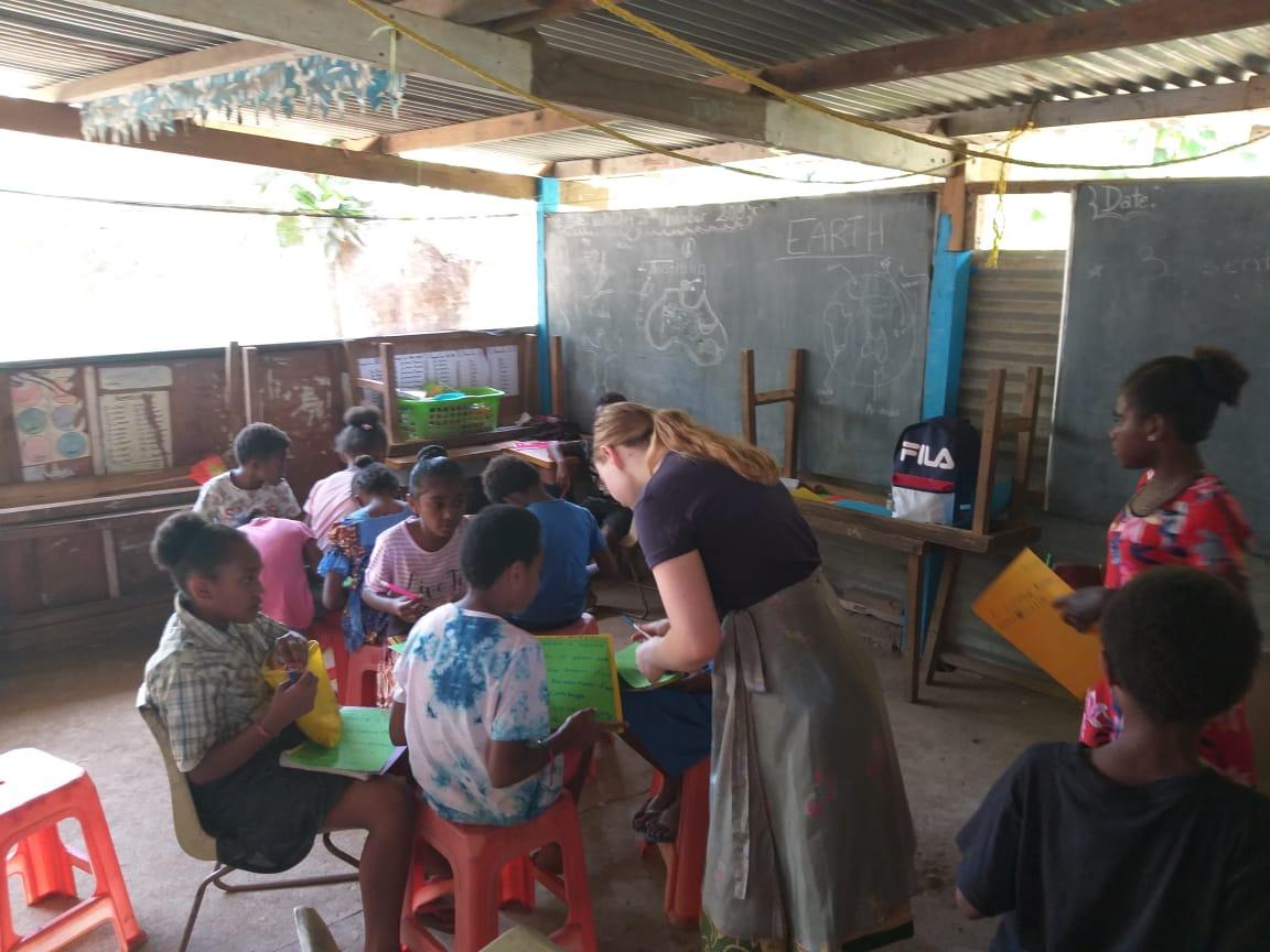 teaching in Vanuatu classroom