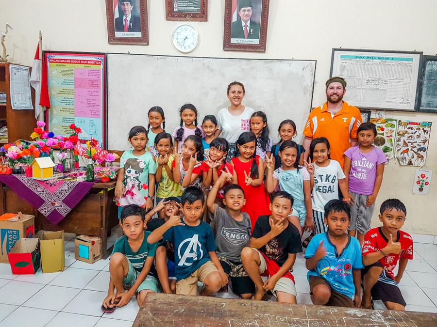 with Bali school children