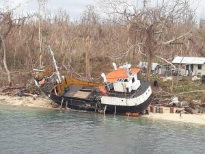 boat washed up on shore