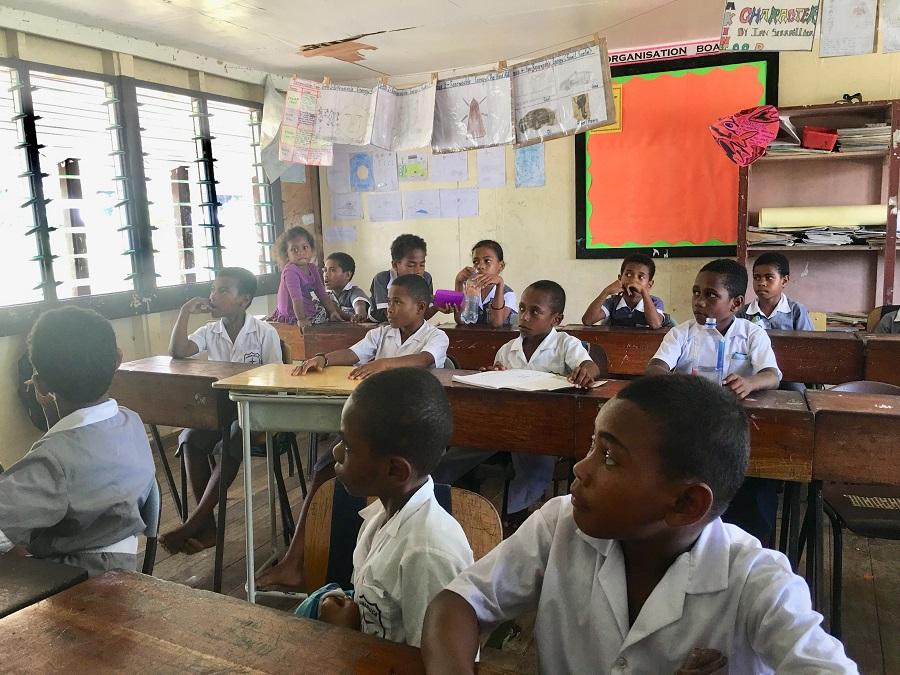 children at desks