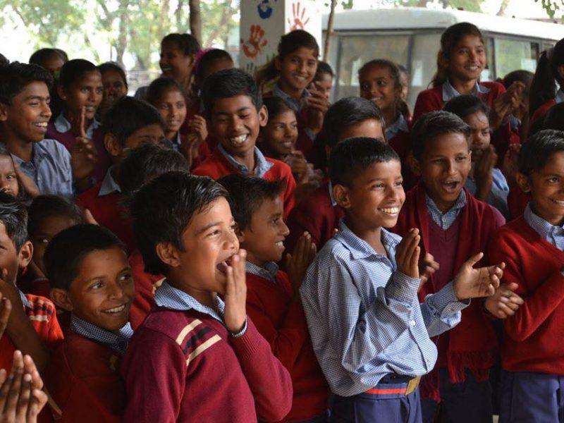 school children in bodhgaya