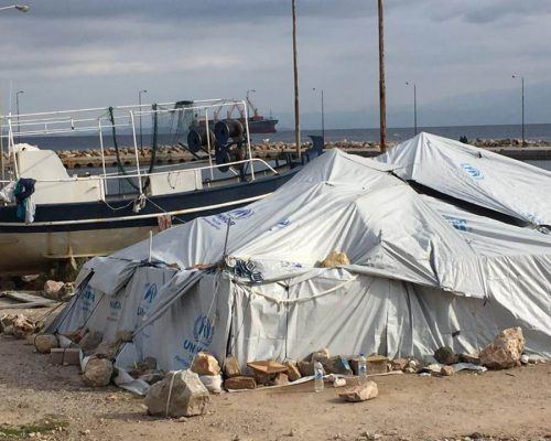 typical refugee tents in greece