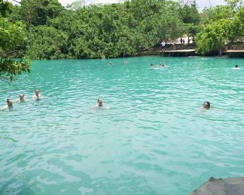 swimming in the lagoon