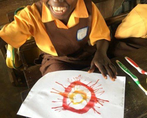 children making their art work