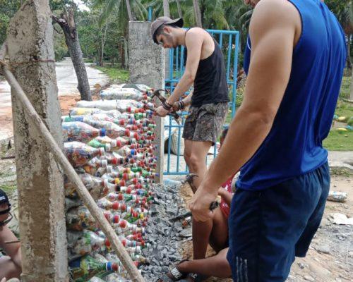 Building eco-bricks wall
