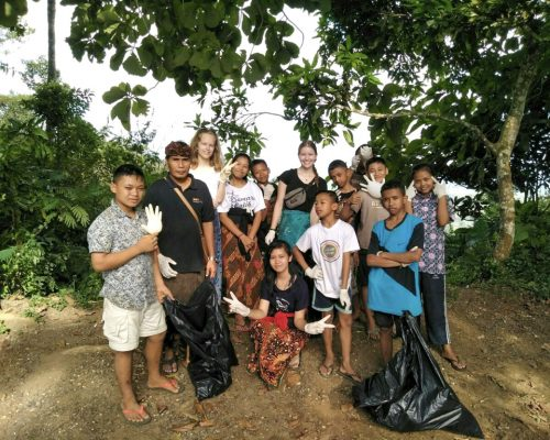 group at cleaning bali project