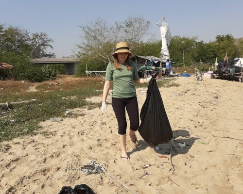 Collecting Garbage on the beach