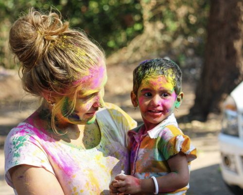 holi colouful paint on faces