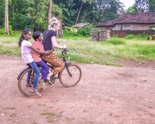 cycling with children on the back