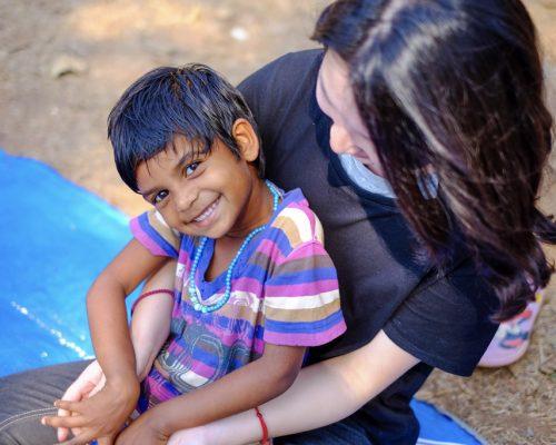 child sitting on participants lap