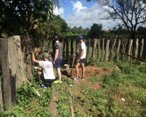 Construction work in garden
