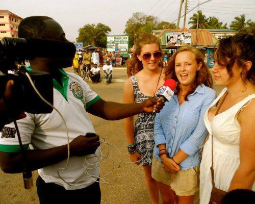 Media team filming interviews in Ghana