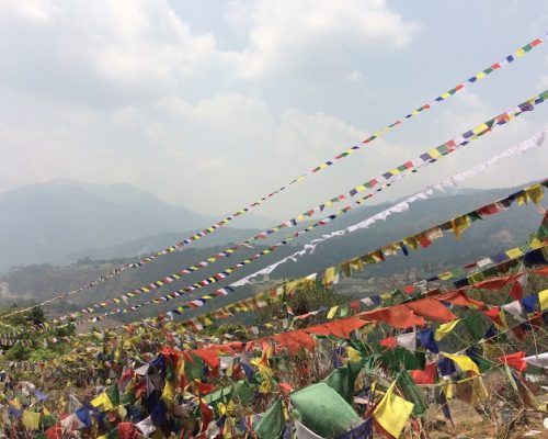 Buddhist flags in mountains