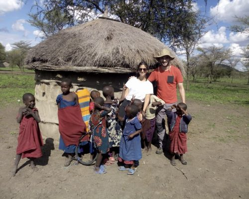 Group photo with Maasai kids