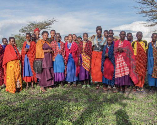 Group photo with Maasai woman