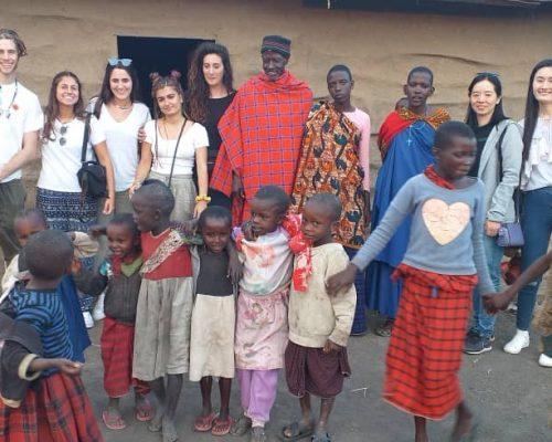 Group photo with maasai people