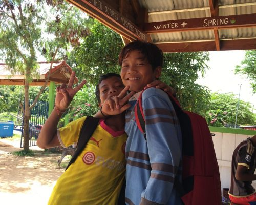 2 cambodia kids at the school