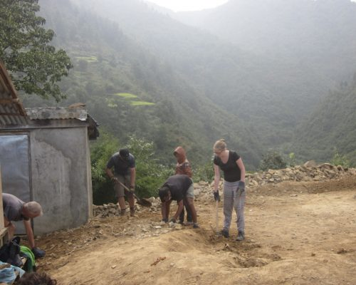 Construction in Nepal mountains