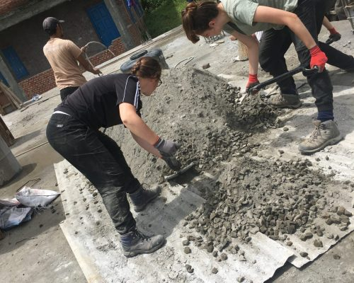 Jessie and Michael helping to rebuild a school in nepal