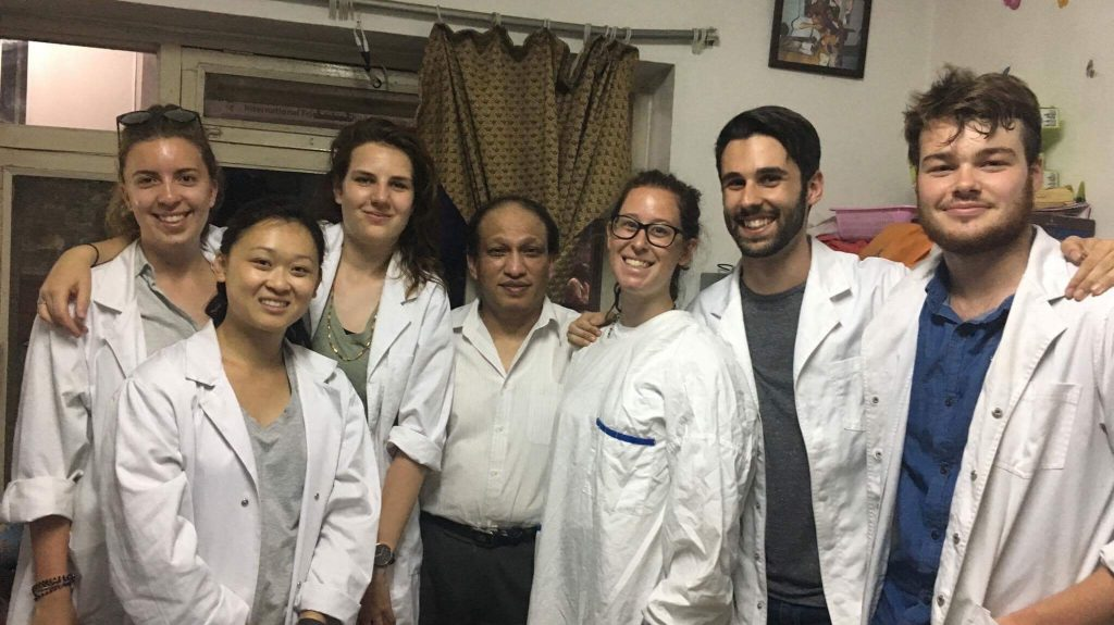 In the whites at the Nepal hospital