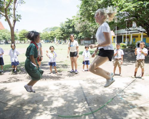 Jumping rope with students